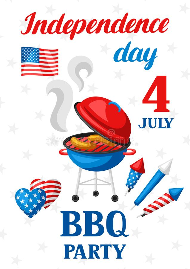 Fourth of July Independence Day bbq party banner. American patriotic illustration vector illustration
