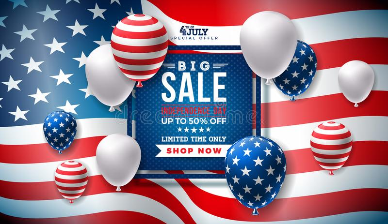 Fourth of July. Independence Day Sale Banner Design with Balloon on Flag Background. USA National Holiday Vector. Illustration with Special Offer Typography stock illustration
