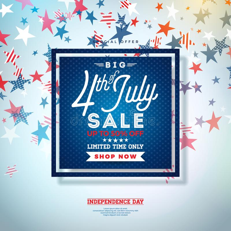 Fourth of July. Independence Day Sale Banner Design with Falling Stars Background. USA National Holiday Vector. Illustration with Special Offer Typography stock illustration