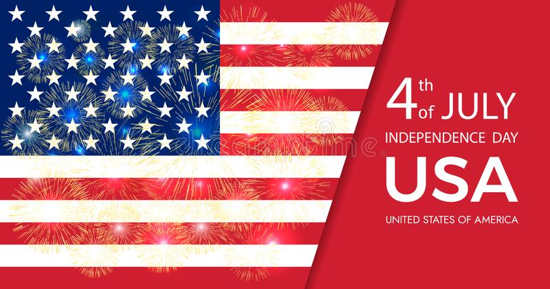 Fourth of July Independence Day of the USA . American flag with fireworks. Independence Day. Greeting card. royalty free illustration
