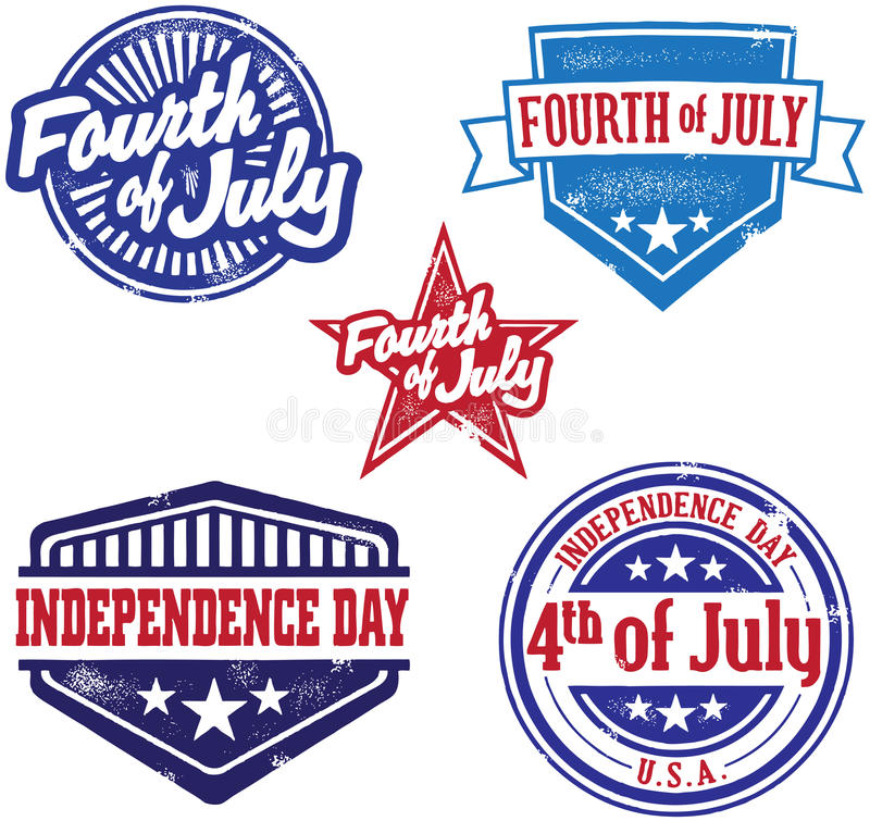 Fourth of July Indpendence Day Stamps. A collection of vintage style Fourth of July graphics royalty free illustration