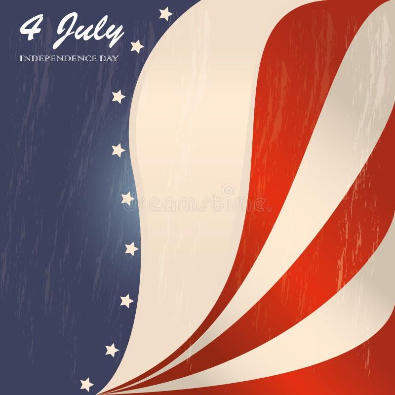 Fourth july. Over flag background vector illustration stock illustration