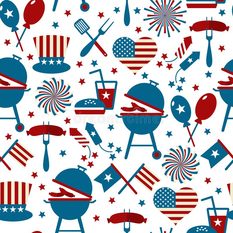 Fourth of July Party and memorial day icons. Seamless pattern. stock illustration
