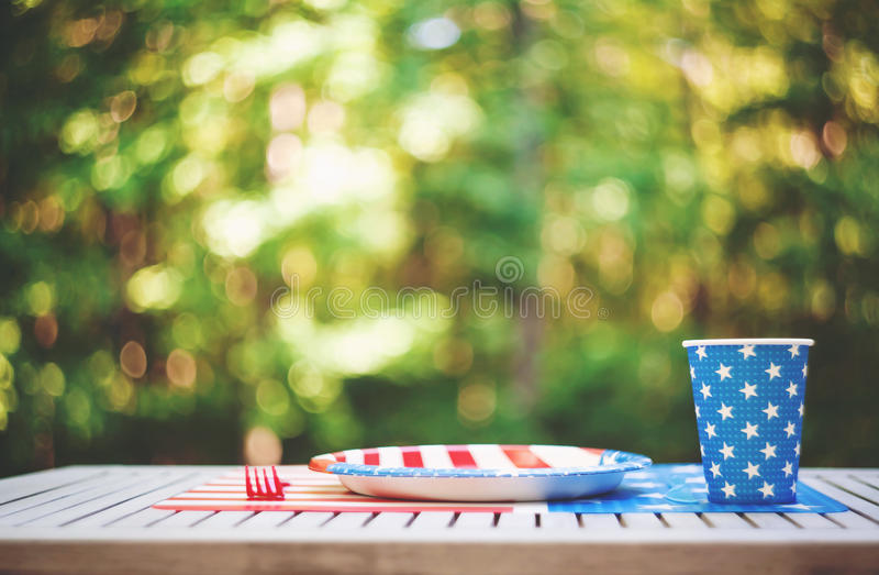 Fourth of July party table setting outside royalty free stock photos