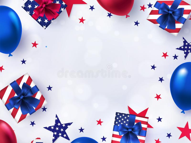Fourth of July Sale banner. 4th of July holiday background with bright helium balloons, gift boxes, confetti stars. stock illustration