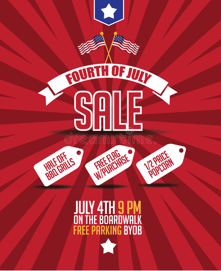 Fourth of july sale poster background. EPS 10 vector stock illustration