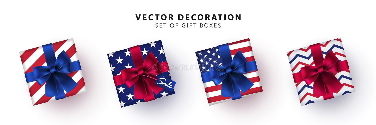 Set of gift boxes in the colors of the USA flag isolated on white background. Collection of realistic gift presents view top vector illustration