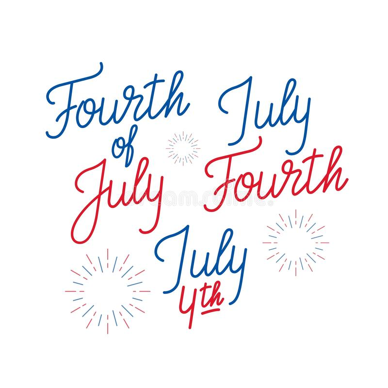 Fourth of July. Set of lettering logo`s for 4th of July, USA Independence Day.  vector illustration