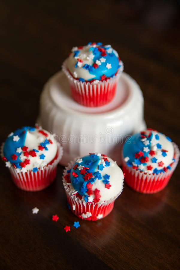 Fourth of July Star Cupcakes stock images