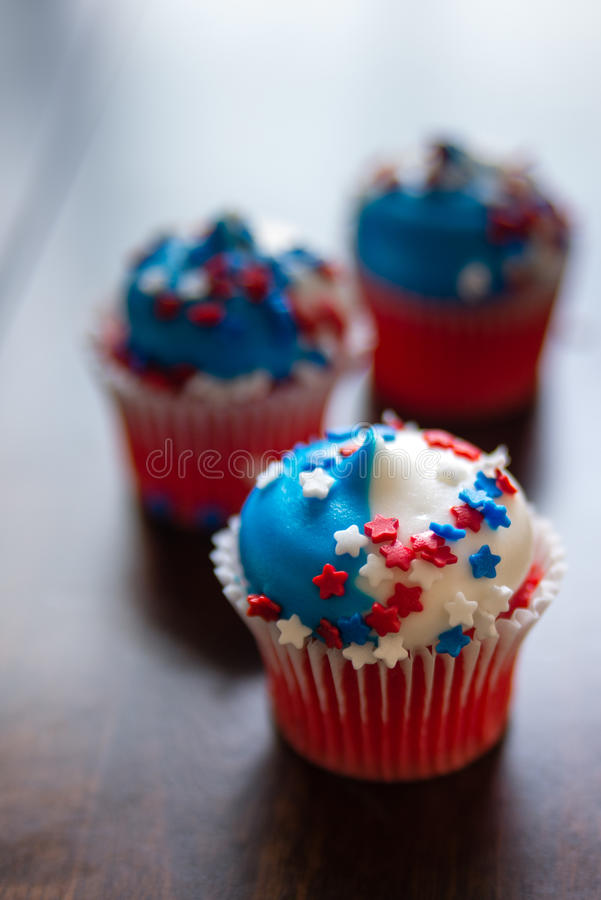 Fourth of July Star Cupcakes royalty free stock images