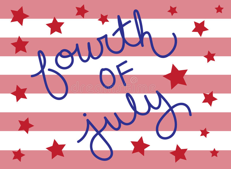 Fourth of July. Stars and Stripes stock illustration
