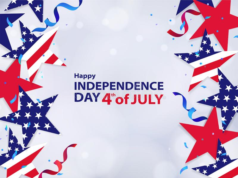 Fourth of July. 4th of July holiday banner. Background for sale, discount, advertisement, web vector illustration