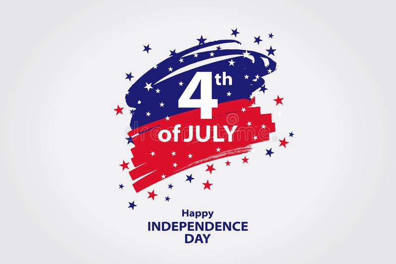 Fourth of July. 4th of July holiday banner. Stylized image of the American flag, drawn by markers. vector illustration