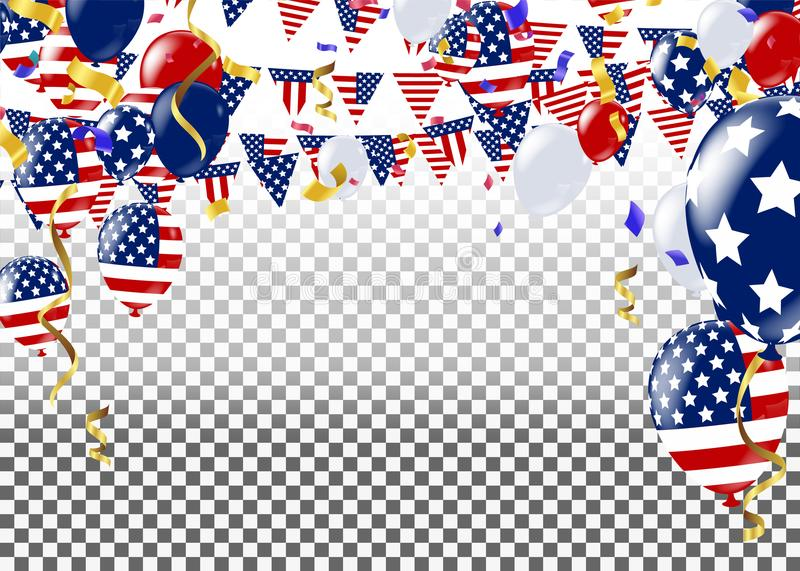 Fourth of July. 4th of July holiday banner. USA Independence Day. Banner for sale, discount, advertisement, Balloons Flag USA stock illustration
