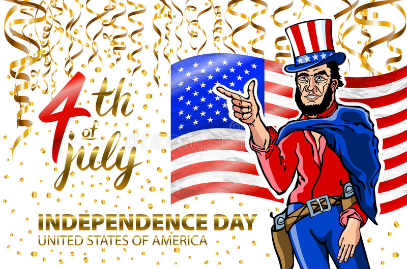 Fourth of July USA Independence Day greeting card. 4 th of July. United States of America celebration wallpaper. national holiday. US flag card design confetti vector illustration