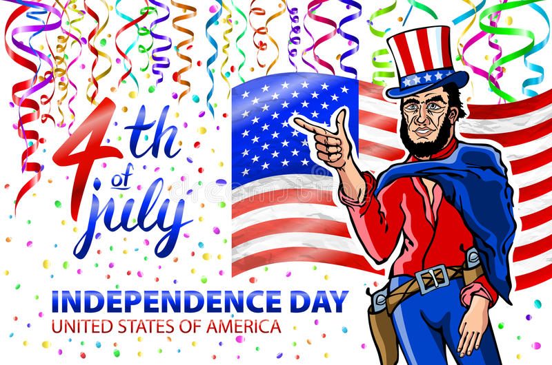 Fourth of July USA Independence Day greeting card. 4 th of July. United States of America celebration wallpaper. national holiday. US flag card design confetti royalty free illustration