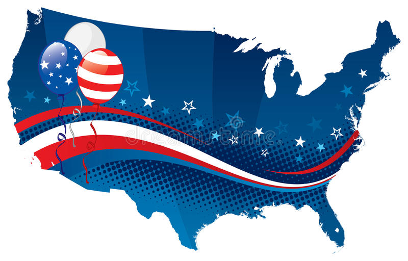 Fourth of july USA map. Vector illustration of fourth of july USA map. Map, banner, balloons, stars are on separate layers vector illustration