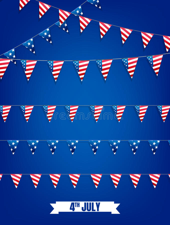 Free Fourth Of July Buntings. Decoration Set Of Garlands For USA National Holidays, Events, Banners, Posters, Web. 4th Of Royalty Free Stock Images - 94240169