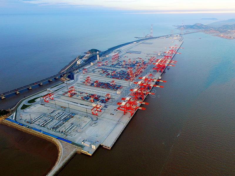 The fourth phase project of Yangshan Deep Water Port in Shanghai royalty free stock images