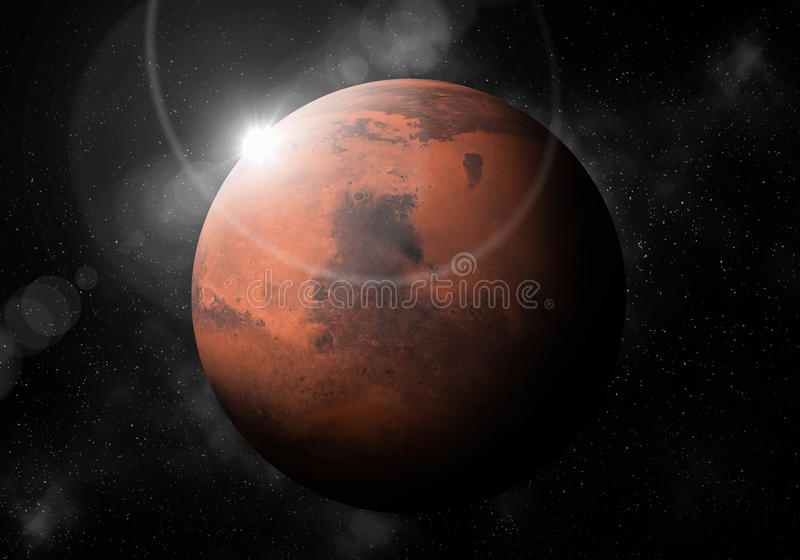 Fourth planet from the Sun is Mars ,Solar system planetarium.  vector illustration