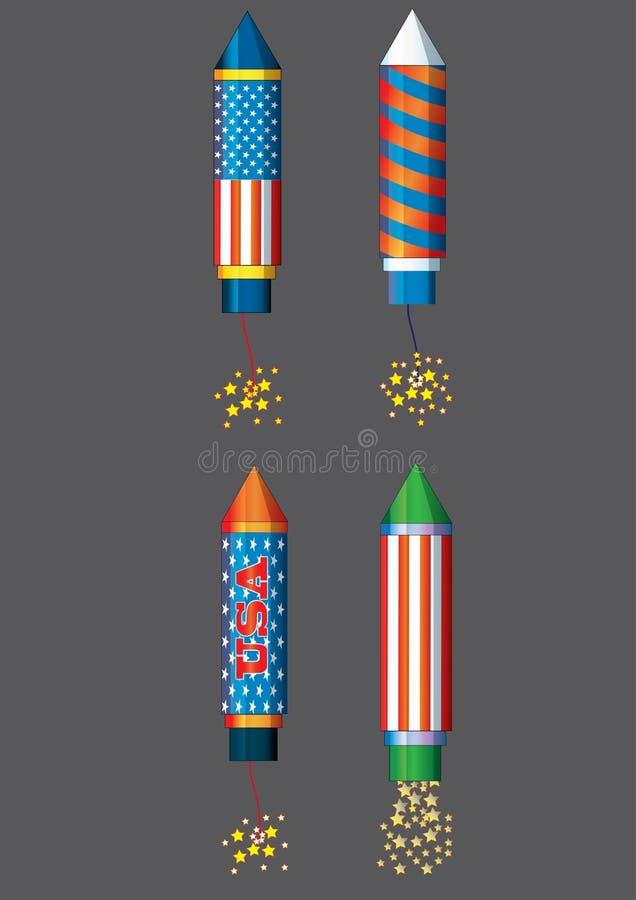 Fourth podskakują czwarty Lipów fajerwerków colorfull llustration dla wakacyjnego świętowanie dnia niepodległości wektoru Lipów f ilustracja wektor
