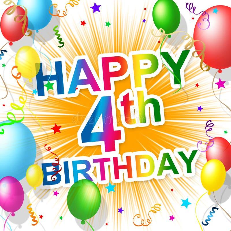 Fourth Reprezentuje świętowanie urodziny Świętuje I gratulacje ilustracja wektor