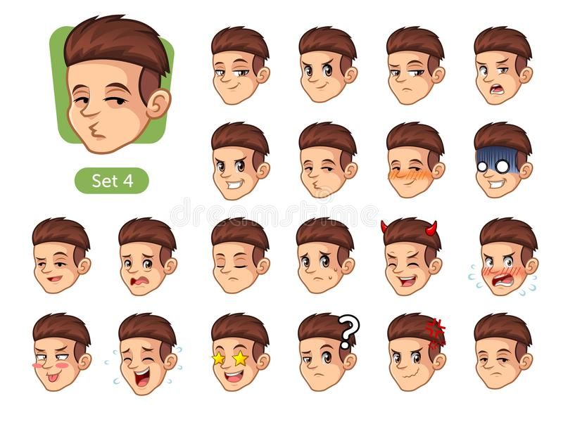 The fourth set of male facial emotions with red hair stock photos