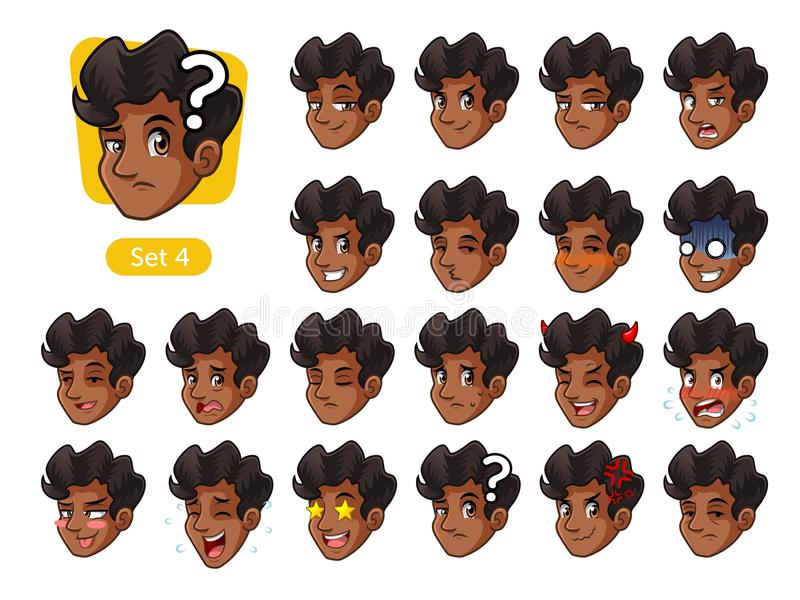 The fourth set of male facial emotions with curly hair royalty free stock photography