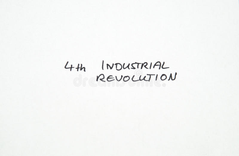 Fourth 4th Industrial Revolution in handwriting. On white background royalty free stock image