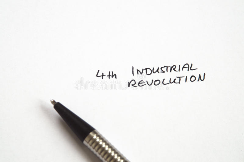 Fourth 4th Industrial Revolution. In handwriting on white background with pen stock photos
