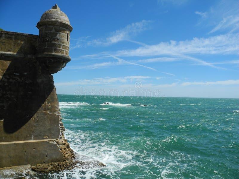Fourtres na extremidade da terra, Oceano Atlântico, Cadiz, Spane foto de stock