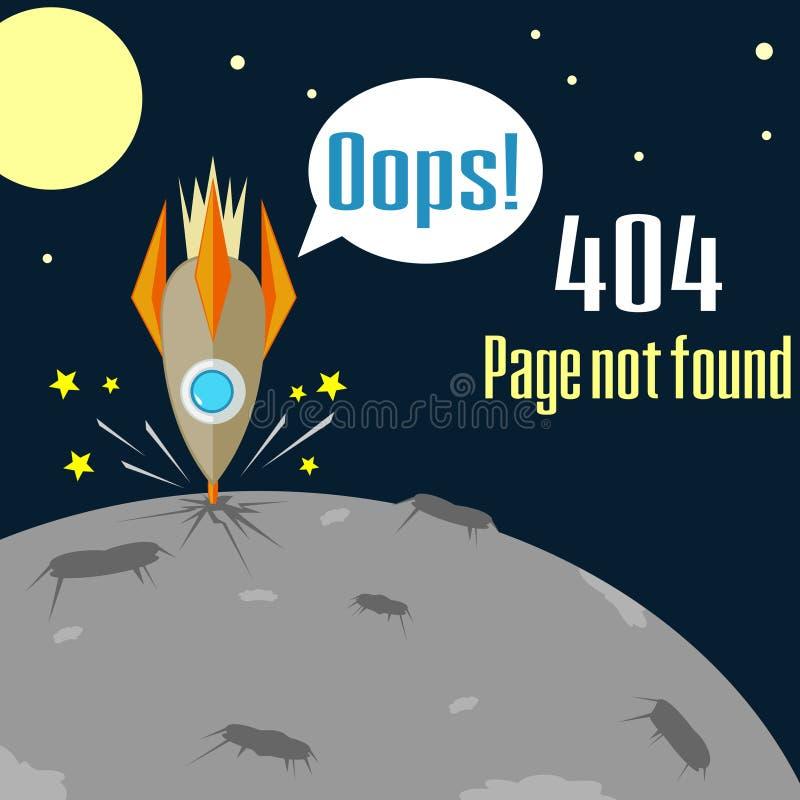 Fout 404 concept met verpletterde raket stock illustratie