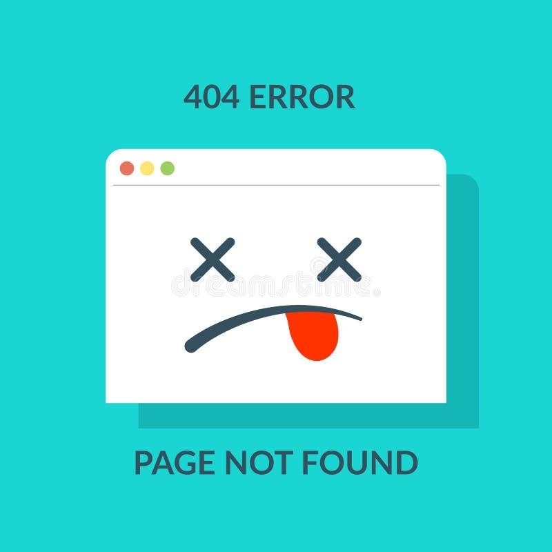 404 fout Gevonden niet concept pagina of website in aanbouw of onderhoud zoals browser met dode emoji beeldverhaal royalty-vrije illustratie