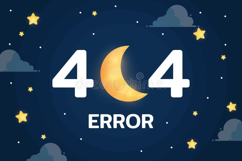 fout 404 met de maan, de wolk en de sterrenvector op grafische de achtergrond van de nachthemel vector illustratie