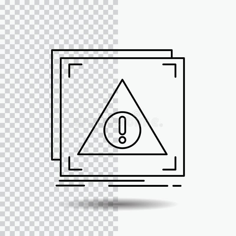 Fout, Ontkende Toepassing, server, waakzaam Lijnpictogram op Transparante Achtergrond Zwarte pictogram vectorillustratie royalty-vrije illustratie