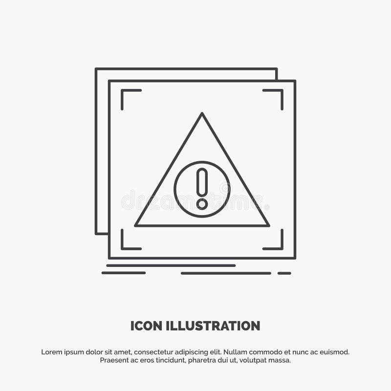 Fout, Ontkende Toepassing, server, waakzaam Pictogram Lijn vector grijs symbool voor UI en UX, website of mobiele toepassing stock illustratie