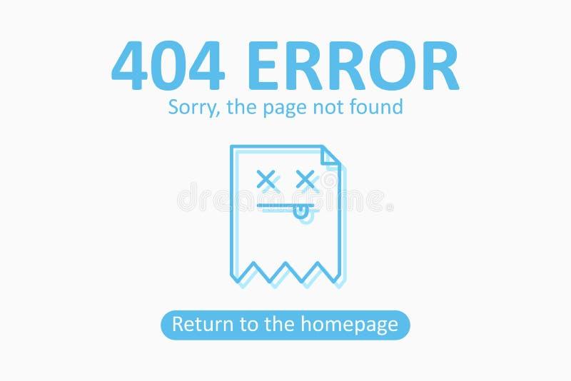 404 fout Pagina gevonden niet malplaatje met dood dossier Ontwerp voor webpagina - maak banner voor website los stock illustratie
