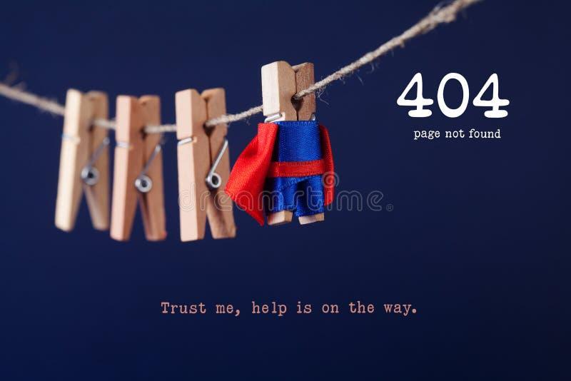 Fout 404 pagina gevonden niet Web-pagina Stuk speelgoed superhero van de wasknijperpin op drooglijn, blauwe achtergrond Vertrouw  stock afbeelding