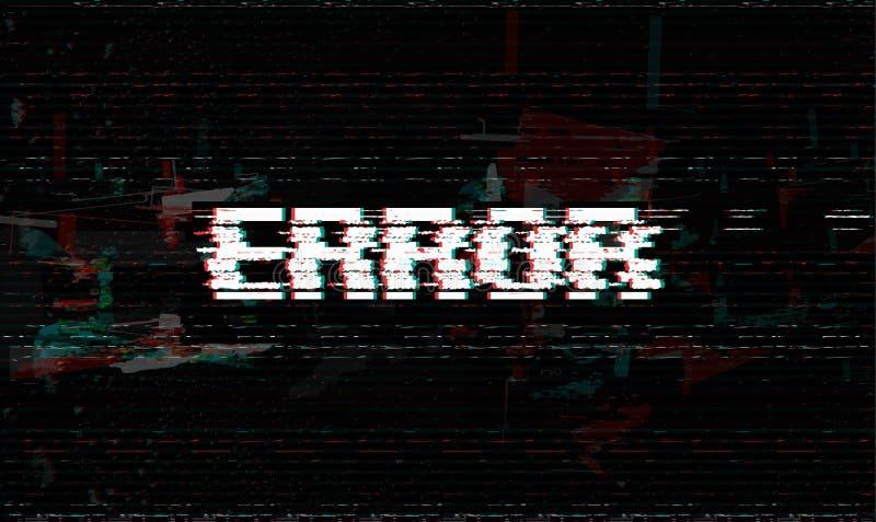 Foutenmelding, glitch, de vectorillustratie van de systeemmislukking, zwarte glitch effect achtergrond stock illustratie