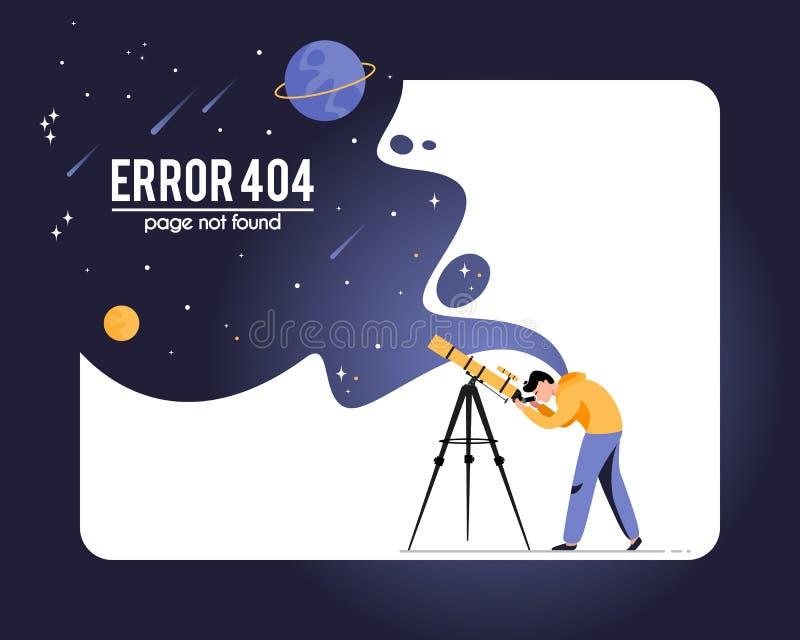 404 foutenpagina gevonden niet die op witte achtergrond wordt geïsoleerd royalty-vrije illustratie