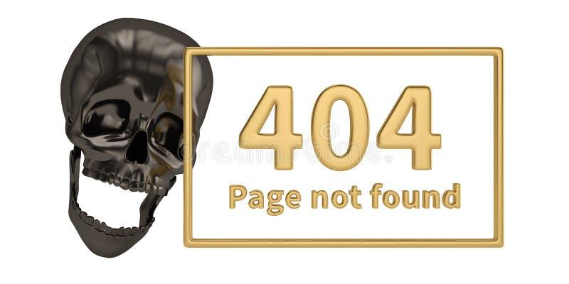 404 foutenwoord en zwarte die schedel op witte achtergrond wordt geïsoleerd 3d royalty-vrije illustratie