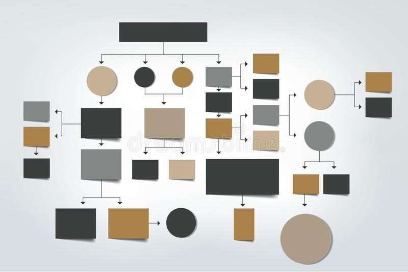 Fowchart El azul coloreado sombrea esquema stock de ilustración