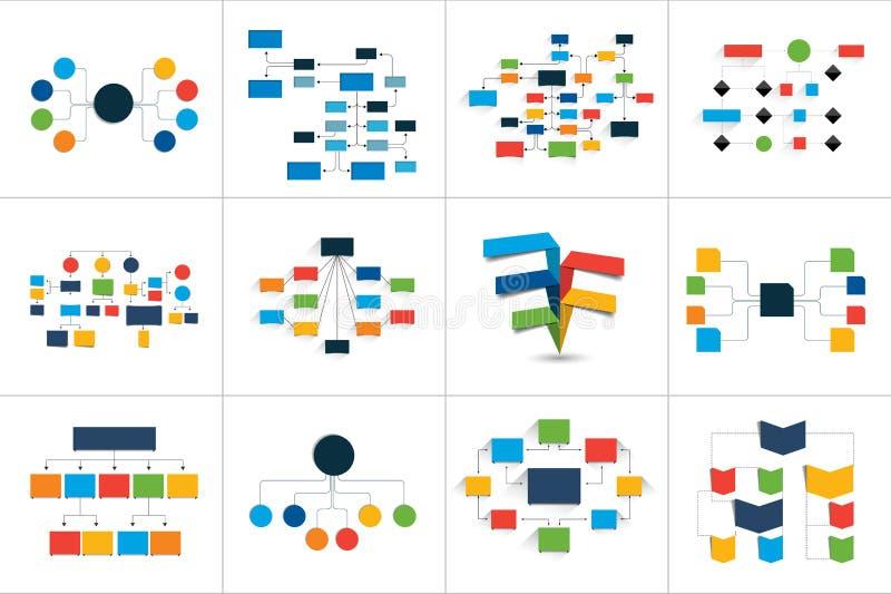 Fowcharts schemes, diagrams. Mega set. Simply color editable. Infographics elements stock illustration