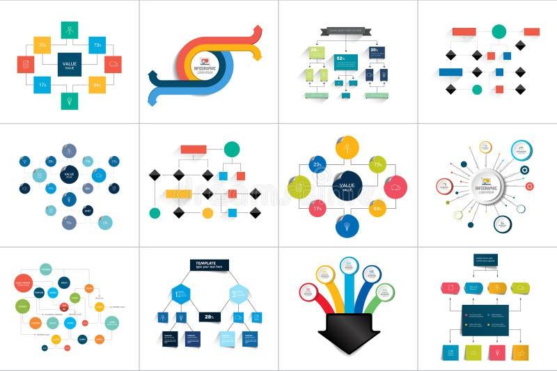 Fowcharts schemes, diagrams. Mega set. Simply color editable. stock illustration