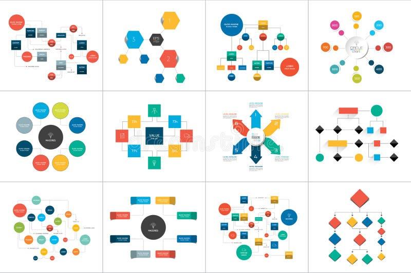 Fowchartsregelingen, diagrammen Megareeks Eenvoudig editable kleur stock illustratie