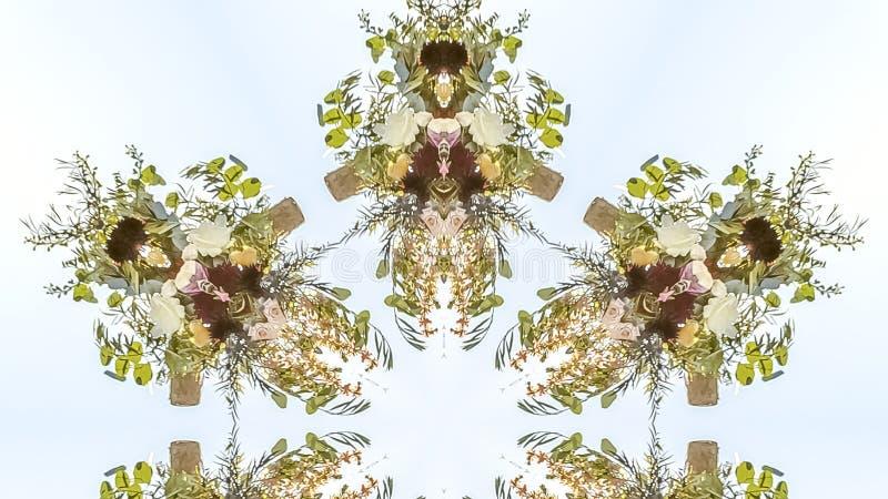 fowers全景设计到与许多用途的花卉形状里 库存例证