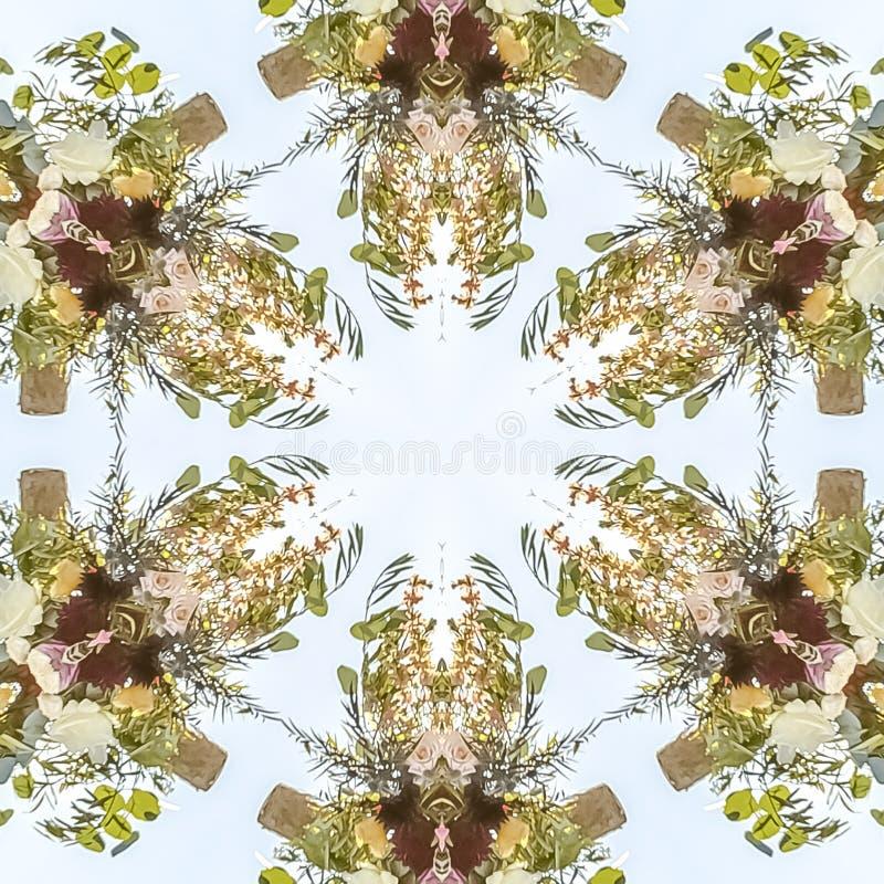 fowers方形的设计到与许多用途的花卉形状里 向量例证