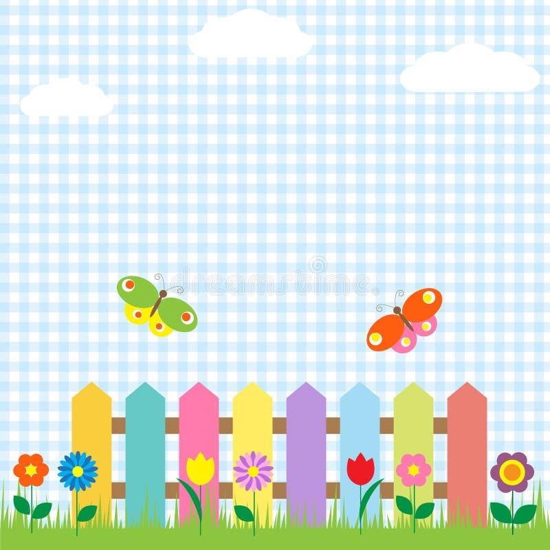 Fowers y mariposas stock de ilustración