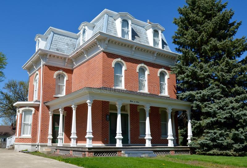Fowler Italianate. This is a Spring picture of a house in Fowler, Indiana. The house built in 1887 is an example of Italianate architecture. This picture was royalty free stock photos