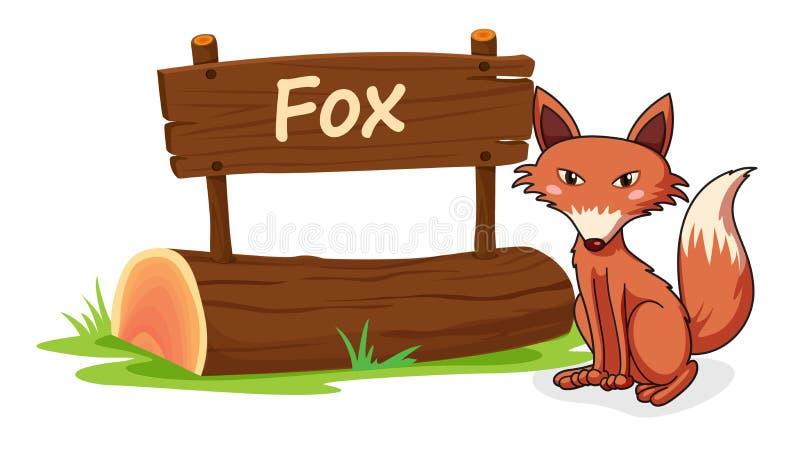 Fox和名字板极 向量例证